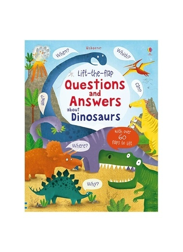 The Usborne The Usborne Lift-The-Flap Questions And Answers About Dinosaurs Beyaz